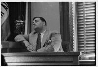 Witness on the stand during the embezzlement trial of Liberty A. Hill, Los Angeles, 1932