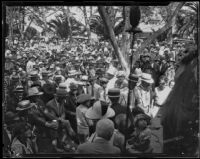 Crowd gathered at the annual midsummer Iowa Picnic in Bixby Park, Long Beach, 1926