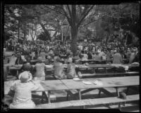 Attendees of the annual midsummer Iowa Picnic seated at tables in Bixby Park, Long Beach, 1926