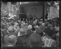 Friend Richardson, Governor of California, speaking at the annual midsummer Iowa Picnic in Bixby Park, Long Beach, 1926