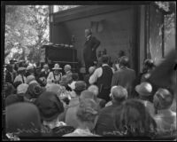 Judge William D. Evans speaking at the annual midsummer Iowa Picnic in Bixby Park, Long Beach, 1926