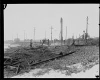 Charred remains of the Hope Development School for mentally disabled girls in Playa del Rey, Los Angeles, 1924