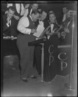 David L. Hutton, estranged husband of Aimee Semple McPherson, with a band in a nightclub, Los Angeles, 1933