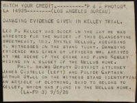 Press release about a photograph of the trial of Leo P. Kelley for the murder of Myrtle Mellus, 1928