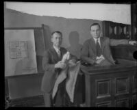 S. S. Hahn with client, accused murderer Leo P. Kelley, in the courtroom, Los Angeles, 1928