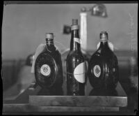 Bottles of alcoholic beverages, evidence in the Myrtle Mellus murder case, Los Angeles, 1928