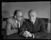 Carl S. Kegley, attorney faced with disbarment, with his attorney, Joseph L. Lewinson, Los Angeles, circa 1934