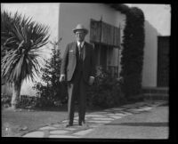 Former District Attorney Asa Keyes, at home on the day of his parole from prison, Beverly Hills, 1931