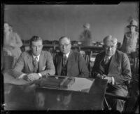 Forrest Murray, Asa Keyes and Edward Dennison, district attorneys, in court, 1926