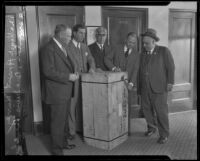 Crate containing a trunk, evidence in the Aimee Semple McPherson disappearance case, at the district attorney's office, Los Angeles, 1926