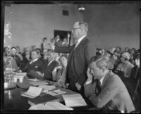 Asa Keyes, Forrest Murray and S. S. Hahn in court during the inquiry into the disappearance of Aimee Semple McPherson, Los Angeles, 1926