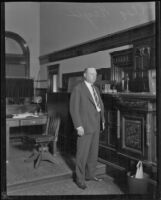 Asa Keyes, district attorney of Los Angeles County, in a courtroom, Los Angeles, 1923-1928