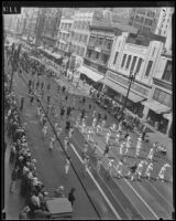 Labor Day parade on a commercial street, Los Angeles, 1934