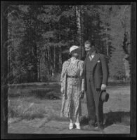 Portrait of attorney Thatcher J. Kemp and his wife, Jeanette Tighe Kemp on their honeymoon, Yosemite Valley, 1935