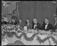 Banquet attended by aviators Charles Kingford Smith, Patrick Gordon Taylor, P. G. B. Morriss and notables, Los Angeles, 1934