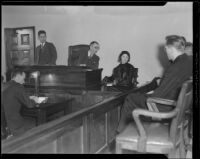 Woman questioned the inquest into the murder of Harry Meagher, Los Angeles, 1933