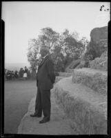 Robert A. Millikan at a mountain overlook area, 1920-1939