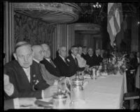 John C. Porter, Frank Merriam, Harry Chandler, James Rolph, and Charles Curtis at a Biltmore Hotel banquet, Los Angeles, 1932-1934