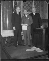 John C. Porter, Eddie Bellande, and Charles Randall in the council chamber, Los Angeles, 1929-1933