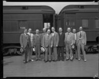 John Thomas, senator from Idaho, and John C. Porter, mayor of Los Angeles, at a train station, Los Angeles, 1929-1933