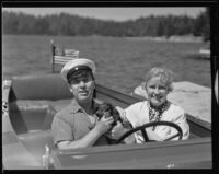Richard and Mona Bonelli in their motorboat, Lake Arrowhead, 1935