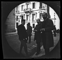 Thomas Allen, Serope Gurdjian, and the photographers Aristotelis and Konstantinos Rhomaides on a city street, Athens, 1891