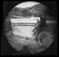 William Sachtleben next to a Roman sarcophagus in the Kerameikos area, Athens, 1891