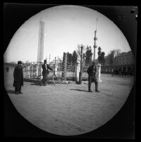 Thomas Allen next to the Serpent Column and in front of the Obelisk of Thutmose III at the Hippodrome, Istanbul, 1891