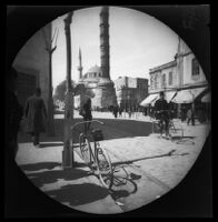 Thomas Allen on bicycle in front of the Column of Constantine (Burnt Column), Istanbul, 1891