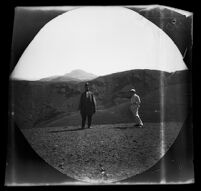 E. T. Platt with a distant view of the mountain of the Vali-Ahd (Crown Prince of Persia), Tabriz vicinity, Iran, 1891