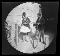 Thomas Allen with a new Humber bicycle, standing next to a Greek man in traditional dress, Athens, 1891