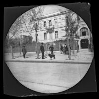 Archibald Loudon Snowden and William Sachtleben with his bicycle before the U. S. Embassy, Athens, 1891
