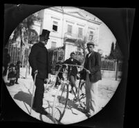 Archibald Loudon Snowden with his son Charles Randolph Snowden and William Sachtleben with bicycles before the U. S. Embassy, Athens, 1891