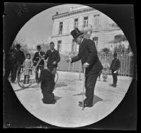 Archibald Loudon Snowden, his dog Nibbings and William Sachtleben in front of the U. S. Embassy, Athens, 1891