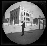 Thomas Allen across the street from the mansion of archeologist Heinrich Schliemann, Athens, 1891