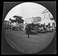 William Sachtleben at an outdoor market in a plaza, Athens, 1891