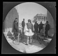 Guards disputing the passage of William Sachtleben and Thomas Allen to the Acropolis on bicycle, Athens, 1891