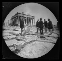 William Sachtleben, Thomas Allen, Basilios Kapsambelis and 2 Greek men in front of the Parthenon, Athens, 1891