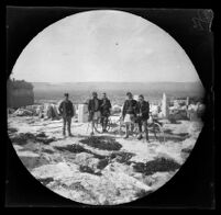 William Sachtleben and Thomas Allen on the Acropolis posing with guards where the statue of Athena Promachos once stood, Athens, 1891