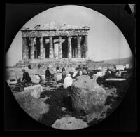 William Sachtleben and Thomas Allen on bicycle, Greek guards and others in front of the Parthenon, Athens, 1891