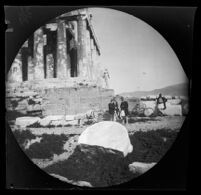Thomas Allen and William Sachtleben with two Greek guards next to the Parthenon, Athens, 1891