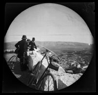 William Sachtleben and others enjoying a panoramic view from the edge of the Acropolis, Athens, 1891