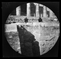 Thomas Allen and William Sachtleben gazing down the circuit wall of the Acropolis on the south side, Athens, 1891