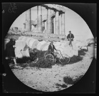 William Sachtleben, Thomas Allen and a Greek guard in front of the Parthenon, Athens, 1891