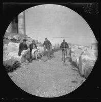 Thomas Allen and William Sachtleben racing their bicycles on the Acropolis, Athens, 1891