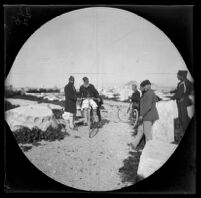 Acropolis guard on a bicycle, with William Sachtleben and others, Athens, 1891