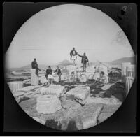 William Sachtleben, Thomas Allen and three Acropolis guards seated on column fragments, Athens, 1891