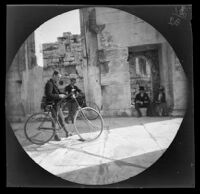 Thomas Allen and William Sachtleben with their bicycles in the portico of the Erechtheum, Athens, 1891