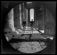 William Sachtleben and Thomas Allen on bicycle within the colonnade of the Parthenon, Athens, 1891