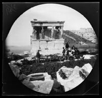 William Sachtleben, Thomas Allen, an Acropolis guard and three others at the porch of the Caryatids of the Erechtheum, Athens, 1891